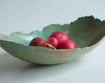 Ceramic bowl, rusty green