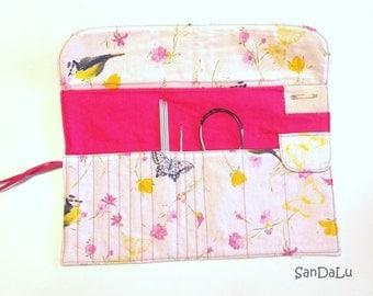 Knitting needle roll - spring in pink
