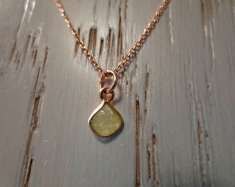 Rough Yellow Diamond on a Sterling Silver 925 Necklace plated with pink gold ~ Conflict Free Diamond
