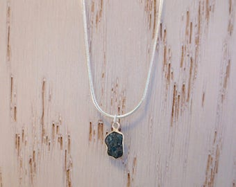 Rough Blue Conflict Free Diamond Necklace ~ Sterling Silver ~ 10mm x 7mm Diamond Pendant Size