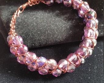 Purple Passion Czech Fire Bead 3 Row Bracelet