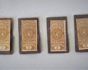 4  Packs 1920s Needles Unopened Extra Good Large Eye Needles Germany Peerless Sharps No 3 Vintage