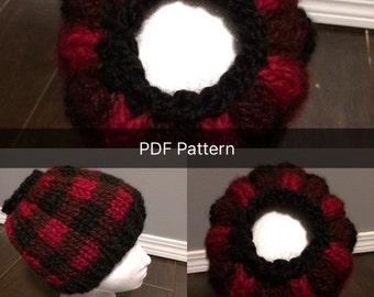 Plaid Messy Bun Hat Pattern