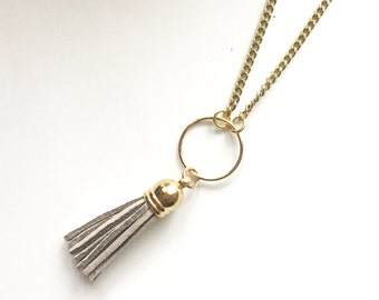 Grey Tassel Necklace with gold chain