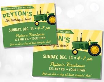 Tractor Theme Invitation • You Print