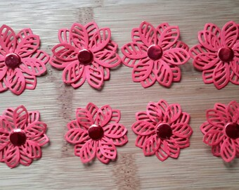 3d red flowers in 2 sizes