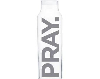 PRAY. (Gray) Glass Water Bottle