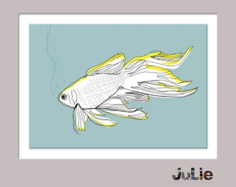 Fish printed poster, digital, turquoise, design, graphic design, drawing, fishing decor, pastel colors