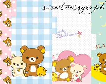 1 cover + 5 dividers for filofax Personal- Printable - Rilakkuma