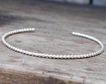 Thin Sterling Silver Beaded Cuff Bracelet