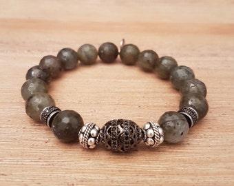Mixed bracelet, Labradorite, 11 Elegant khaki.