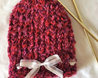 Ready to ship - Knitted Baby Hat; Handmade Knitted Newborn  Beanie; Hand Knit Baby Hat; Baby Gift Idea