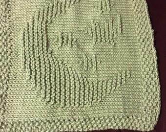 Moon & Stars knit dish cloth/washcloth