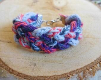 Braided grey-pink-purple lucet bracelet
