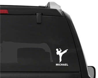 Martial Arts Personalized Karate Tae Kwon Do Boy Vinyl Decal Car Window Sticker