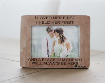 Father of the Bride GIFT for Dad Father from Daughter Thank You Personalized Picture Frame I Loved Her First Lyrics Quote