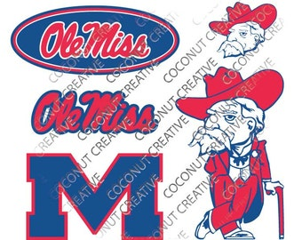 Ole Miss University of Mississippi Rebels logo football svg dfx jpg jpeg eps layered cut cutting files cricut silhouette die cut decal vinyl
