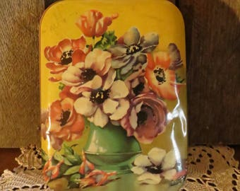 Vintage Blue Bird Toffee Tin, Flowers, Worcestershire England