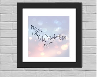 Wanderlust Paper Airplane framed print
