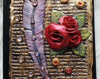 Notebook, journal with roses/feather-polymer clay cover