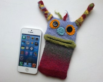 """Smartphone Monster """"Bella"""" Handytasche, Monster, Samsung Galaxy S 5 mini, iPhone 4s, bag, felt, cover, knitted, felted"""