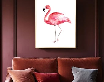 Flamingo watercolor print flamingo Art print Flamingo Wall decor Flamingo watercolor print Flamingo poster Flamingo home decor