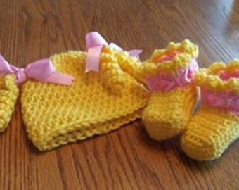 Goldielocks hat and bootie set