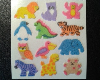 Rare Sandylion Stickers Rainbow Fuzzy Mini Animals, Cat, Giraffe, Lion, Bear, Monkey, Owl, Tiger, Elephant  (1 mod)