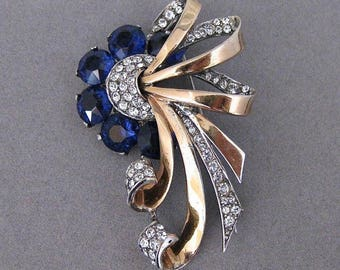 Vintage Boucher Phrygian Vermeil Sterling Silver Blue Crystal And Rhinestone Pin