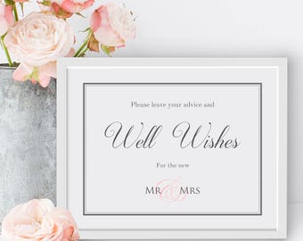 Wedding Sign Template | Classic Border |  For Word |  Printable Sign