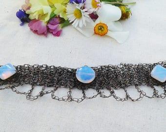 Moonstone bracelet crochet bracelet copper wire bracelet crochet wire jewelry wire wrapped bracelet wire wrapped jewelry opalite bracelet