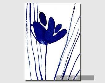 Flower Indigo color, watercolors, blue minimalist art, contemporary art, abstract art, illustration, printable download