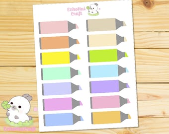 Rainbow Highlighter Quarter Boxes/ Functional Planner Stickers for use with Erin Condren Vertical Life Planner and Happy Planner MAMBI
