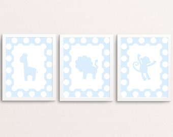 Nursery animal print set, nursery art, animal prints, baby boy nursery, baby animal prints, woodland animals, set of 3, safari nursery art