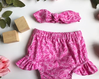 Pink Leaf Bloomers and Headband