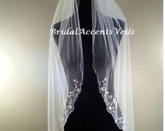 1T Single Layer Fingertip Length Floral Design Beaded Wedding Bridal Veil in White, Diamond White or Ivory