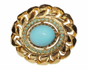 Brooch VINTAGE SPHINX - Neo Classic oval Turquoise