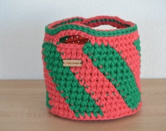 Basket of pink/green textile yarn / / great looker and beautiful decoration / / for Krims Krams of all kinds / / gift and souvenirs