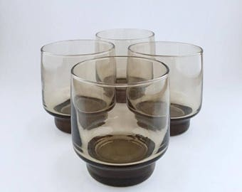Vintage Libbey Smokey Brown Juice Glasses Set Of Four