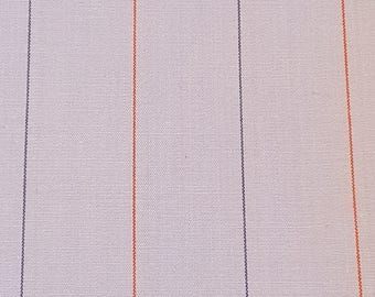 """Baby blue quilting fabric with red and blue stripes - 62"""" x 50"""" - vintage cotton fabric"""