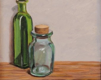 "Still Life oil painting original of two bottles, oil on panel, 6"" x 6"", framed in a medium colored cherry floater"