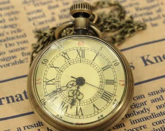 Pocket Watch Vintage Bronze Dial Roman Number Chain