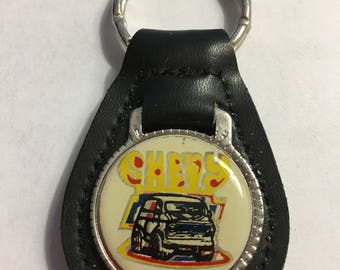 CHEVY Party Van Logo KEY FOB Black Top Grain Leather Mint