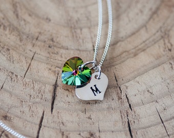 Personalized Hand Stamped Necklace Heart Charm Initial Necklace Birthday Gift for Her Wedding Anniversary Gift Monogram Necklace Swarovski