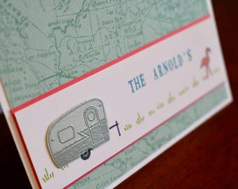 Set of 6 hand stamped note cards, RV, camper, trailer, PERSONALIZED, custom text, air stream trailer with flamingo