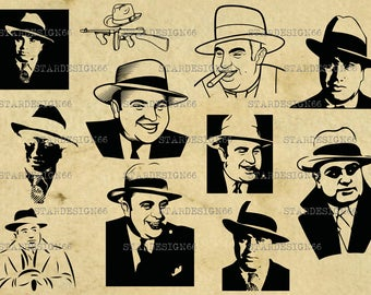 Digital SVG PNG JPG Al Capone, gangster, mafia, silhouette, clipart, vector, instant download