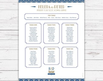 ArtDeco wedding breakfast table plans - personalised with your details and your guest names