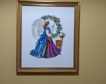 Angel of the Harvest - Cross-stitch - Needlework - Fiber Art - Framed Art - Animals