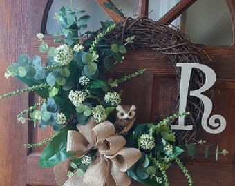 Grapevine Wreath with Mixed Greenery, Owl and Monogram