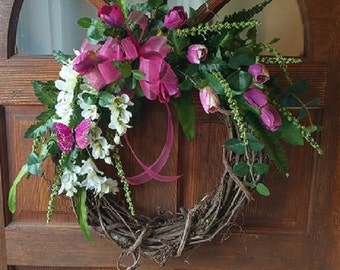 Spring Wreath with Tulip, Freesia and Butterfly